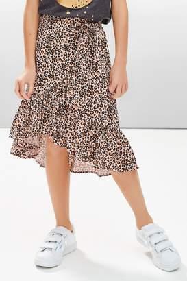 Next Girls Animal Print Midi Skirt (3-16yrs) - Brown