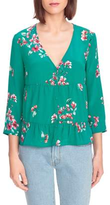 Sezane Anna Floral Silk Blouse