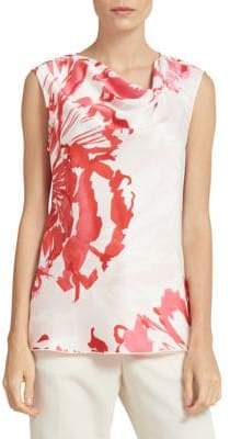 Donna Karan Printed Sleeveless Satin Top