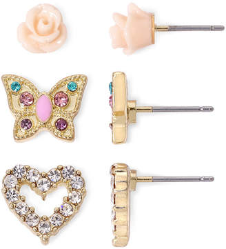MIXIT Sensitive Ears Rose Heart Butterfly 3-pr. Earring Set