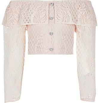River Island Girls pink broderie long sleeve bardot top