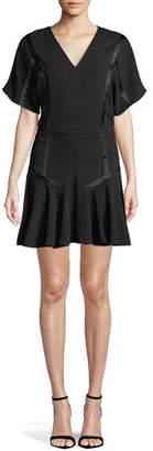 Halston Satin-Trim Flounce Dress