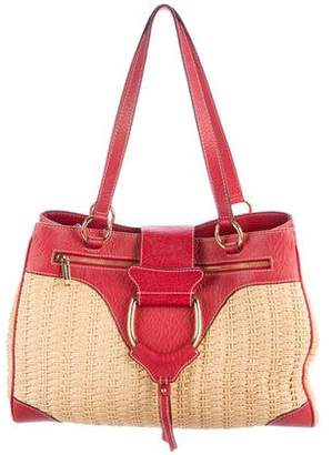 Dolce & Gabbana D-Ring Woven Wicker Shoulder Bag