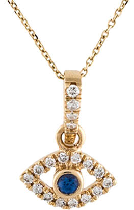 Downtown Diamonds Adornia 14K 0.15 Ct. Tw. Diamond & Sapphire Evil Eye Pendant Necklace