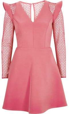 River Island Blush pink lace insert frill skater dress