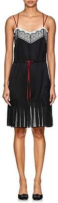 Alberta Ferretti Women's Floral-Lace-Embellished Silk Minidress - Black