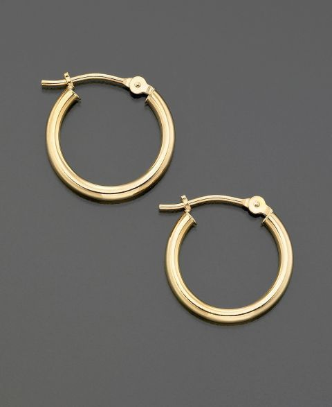18k Gold Small Polished Hoop Earrings