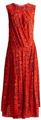 Preen Line Clementina Vine And Floral Print Crepe Dress - Womens - Red Print
