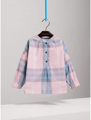 Burberry Gathered Check Cotton Shirt