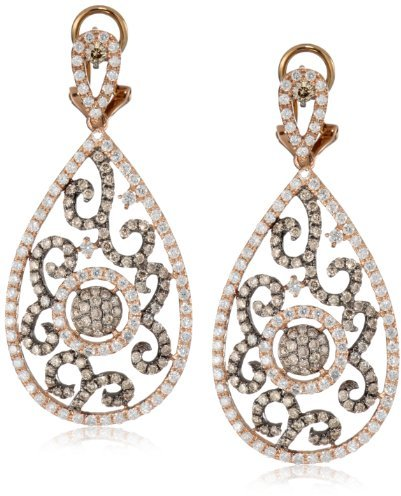 """KC Designs Tres Chic"""" 14k Rose Gold, White and Champagne Diamond Pear Shape with Black Rhodium Finish Earrings"""