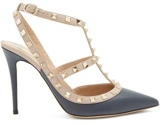 Valentino Rockstud Leather Pumps - Womens - Navy