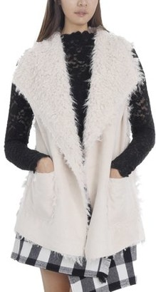 MELODY Women Faux Leather Loose Fit Vest with Faux Shaggy Fur (IVORY, LARGE)