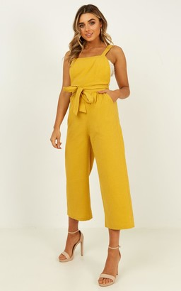 Showpo Younger Frills Jumpsuit in mustard - 6 (XS) Wide Leg Jumpsuits