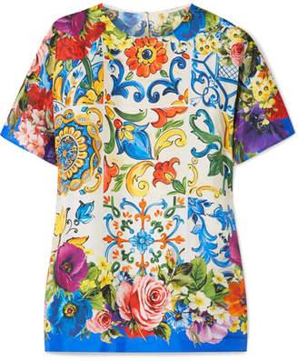 Dolce & Gabbana Printed Silk-twill Blouse - Blue