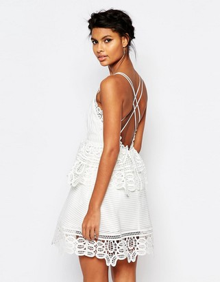 Self Portrait Lace Trimmed Dress in White with Strappy Back $445 thestylecure.com