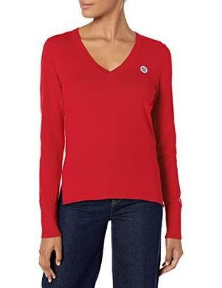 Armani Exchange A|X Women's Long Sleeve V-Neck Top with Icon on Chest