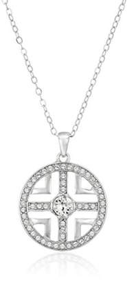 """Swarovski Sterling Silver Cutout Cross Pendant Necklace Made with Crystal (18"""")"""
