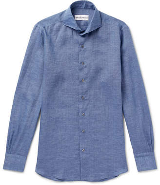Privee SALLE Evron Cutaway-Collar Linen Shirt