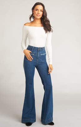 Show Me Your Mumu Farrah Trouser Flare ~ Marine with Piping