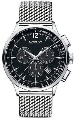 Movado Men's Circa Chronograph with Stainless Steel Mesh Bracelet and Black Dial, 42 mm
