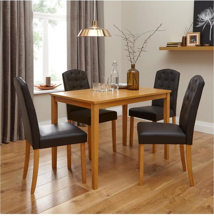Very primo 120 cm dining table 4 quilted effect dining for 120 dining table sets