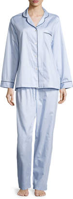 P Jamas Fine Striped Long-Sleeve Pajama Set, Blue/White