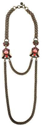Lanvin Tiger's Eye Quartz & Crystal Double Chain Necklace