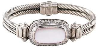 David Yurman Mother of Pearl & Diamond Double Cable Bangle