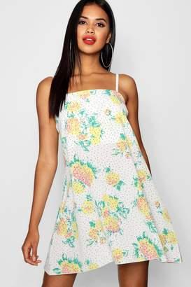 boohoo Polka Dot Square Neck Woven Cami Dress