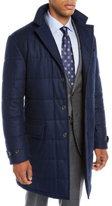 Neiman Marcus Men's Long Water-Resistant Quilted Wool Button-Front Coat