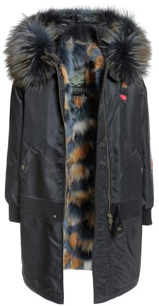 Embroidery Long Bomber New York Fox Fur