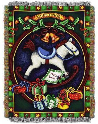 """Northwest Company The Holiday Hobby Horse 48"""" x 60"""" Holiday Woven Tapestry Throw"""