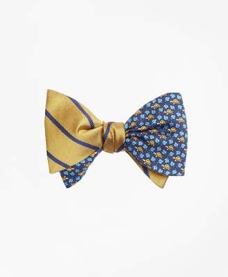 Brooks Brothers Twill Stripe with Turtle and Leaf Print Reversible Bow Tie
