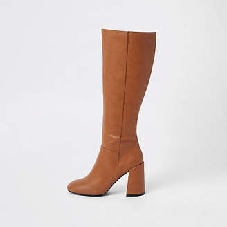 River Island Womens Brown block heel knee high boots