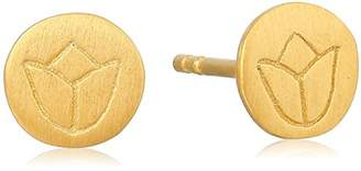 Satya Jewelry Plated Mini Lotus Stud Earrings
