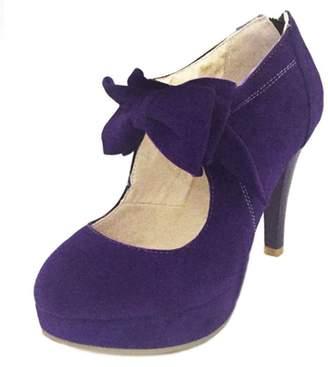 DoraTasia Women's Sweet Bowtie Ankle Strap High Heels Platform Pumps Mary Janes