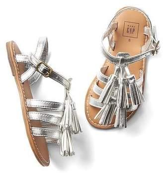 Metallic tassel gladiator sandals $29.95 thestylecure.com