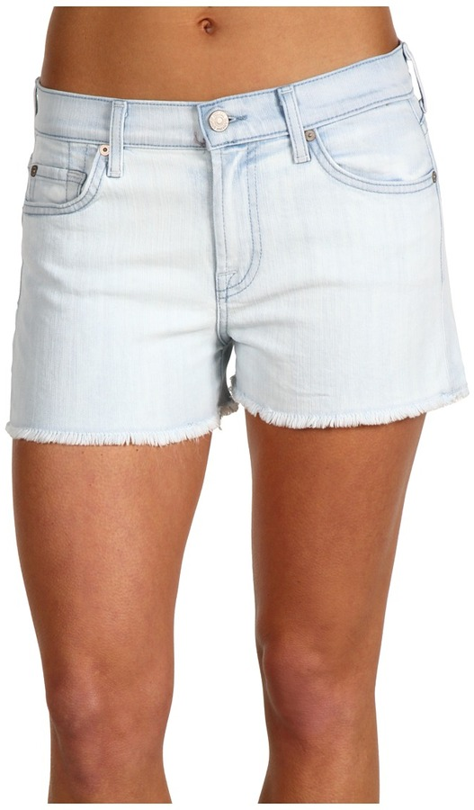 7 For All Mankind High-Waist Vintage Cut-Off Short in Cool Blue (Cool Blue) - Apparel