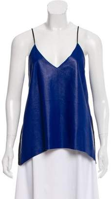 Mason Sleeveless Leather Accented Top