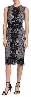 Marchesa Sleeveless Lace Sheath Dress