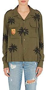 Amiri Women's Palm-Tree-Print Cotton-Cashmere Military Shirt - Olive