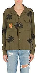 Amiri Women's Palm-Tree-Print Cotton-Cashmere Military Shirt-Olive
