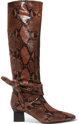 Rosetta Getty Knotted Snake-effect Leather Knee Boots - Brick