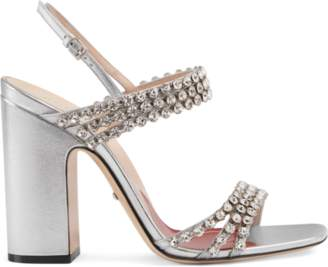 88e3aa977cbf Gucci Metallic leather sandal with crystals