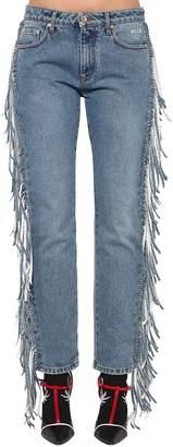 MSGM Straight Leg Fringed Denim Jeans