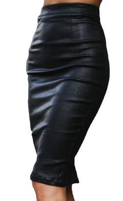 78469a186d5 ZXFHZS-CA Women Knee-Length Slim High Rise Club Slit Bodycon Faux-Leather