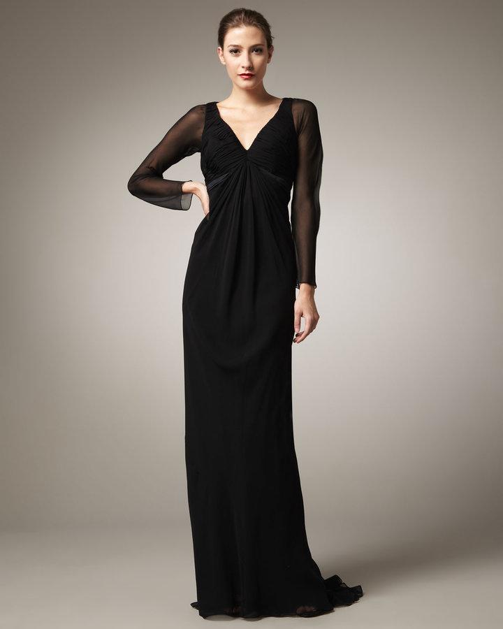 Pamella Roland Long-Sleeve Chiffon Gown