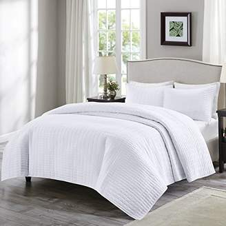 Comfort Spaces Kienna Quilt Mini Set - 3 Piece - White - Stitched Quilt Pattern - Full/Queen size