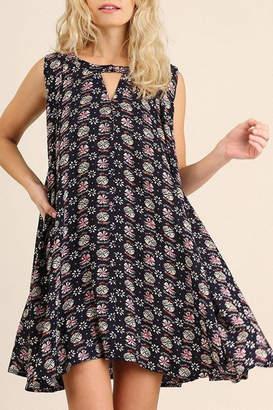 Umgee USA Navy-Geometric Print Dress