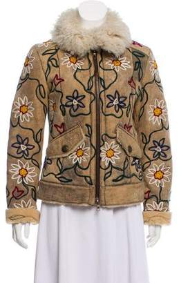 Santacroce Embroidered Shearling-Lined Leather Jacket